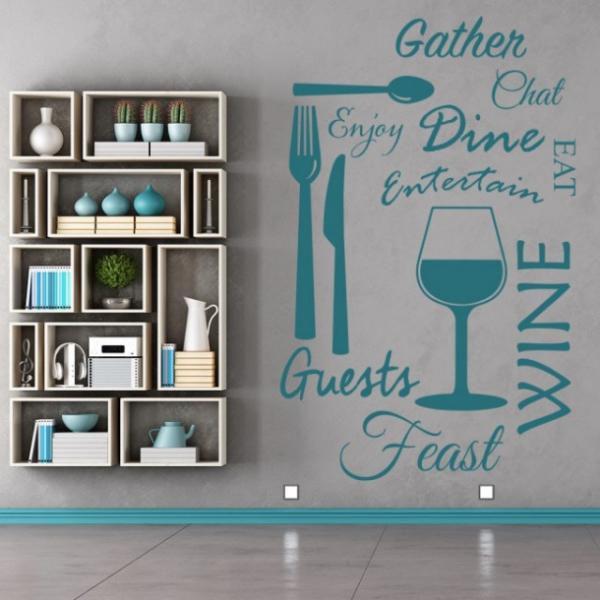 Sticker decorativ - WINE DINE KITCHEN 1