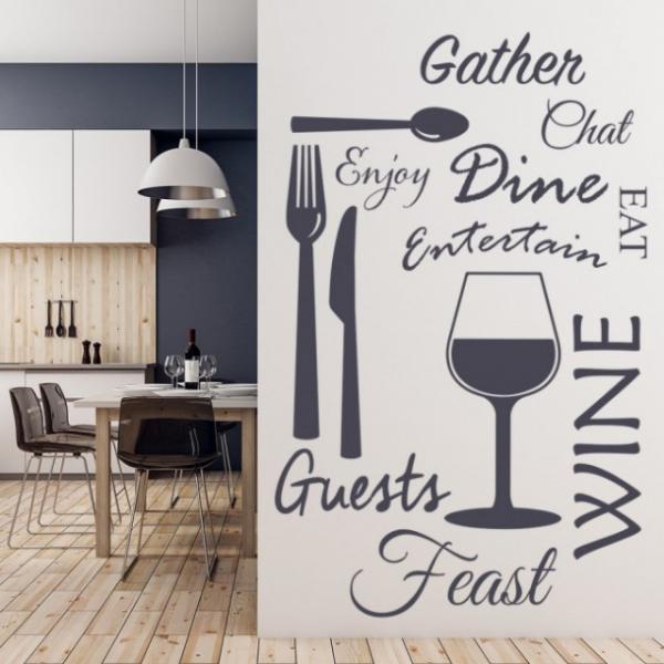 Sticker decorativ - WINE DINE KITCHEN 0