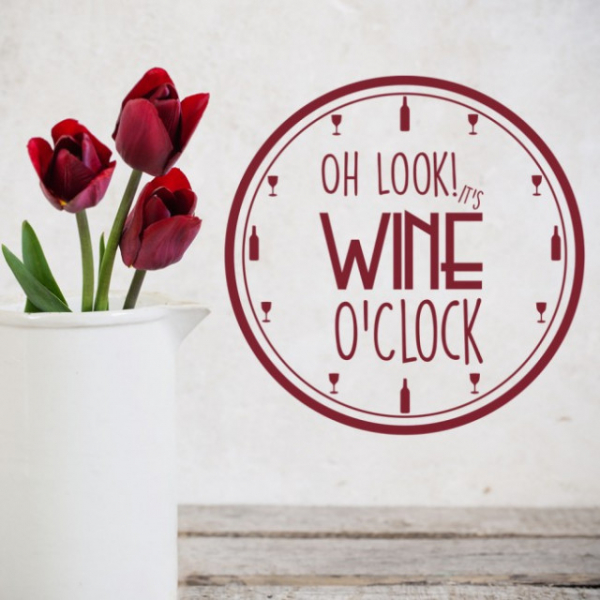 Sticker decorativ - WINE O'CLOCK 0