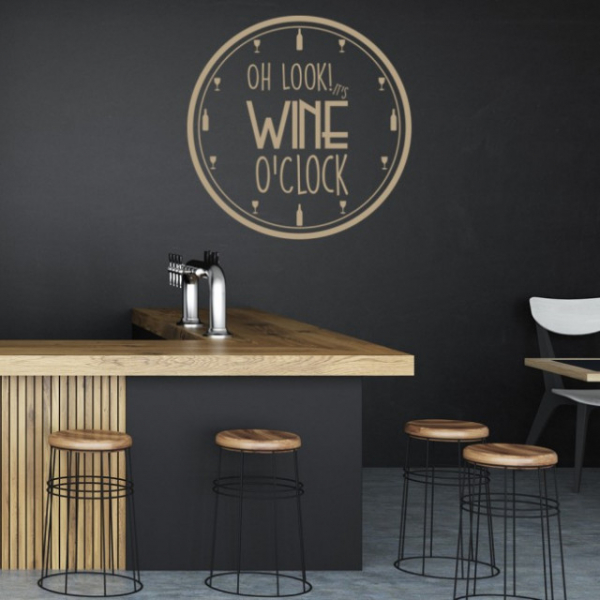 Sticker decorativ - WINE O'CLOCK 1