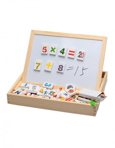 Tablita Magnetica Cu Litere Si Cifre Matematica Din Lemn 0