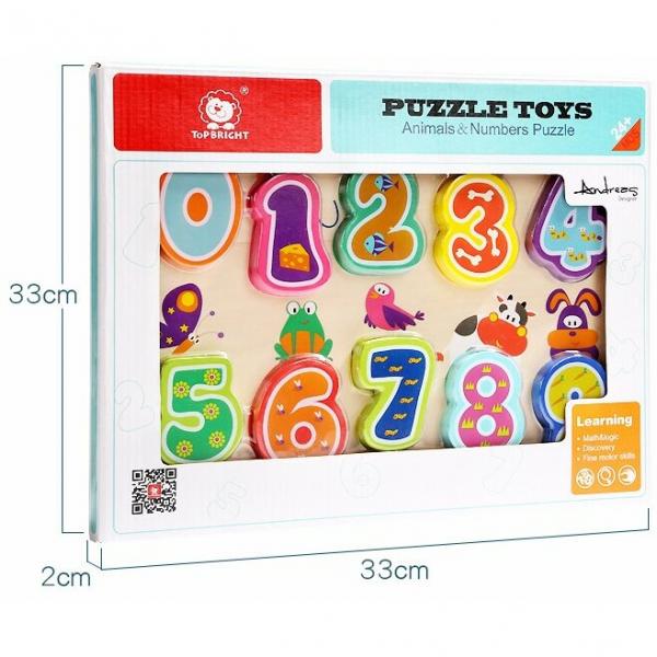 Puzzle din lemn - Numere și animăluțe 4