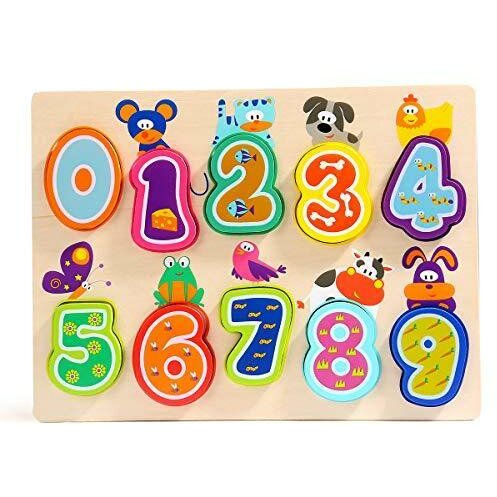 Puzzle din lemn - Numere și animăluțe 1