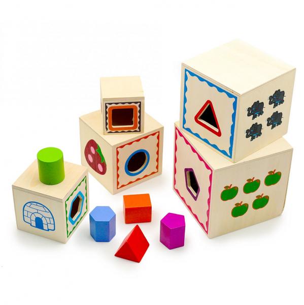 Turn Montessori din lemn 5 cuburi Cifre si Forme 0