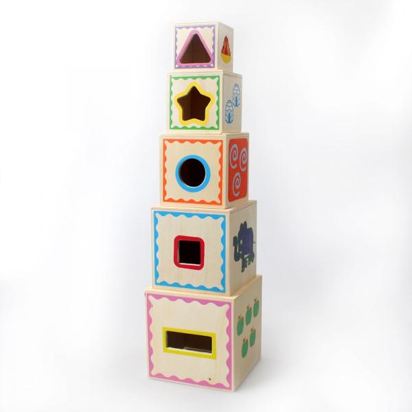 Turn Montessori din lemn 5 cuburi Cifre si Forme 3