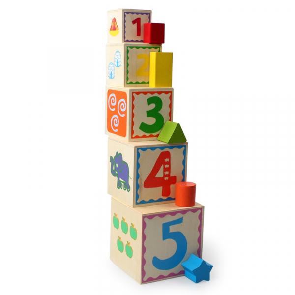 Turn Montessori din lemn 5 cuburi Cifre si Forme 2