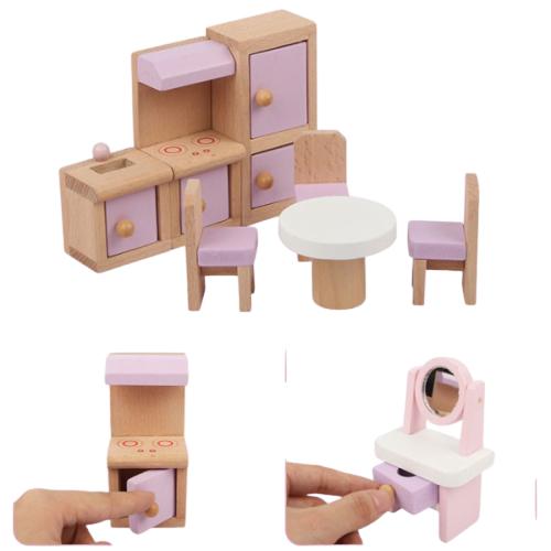 Casuta papusi din lemn cu mobilier 3