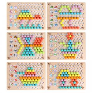 Joc Din Lemn 3 In 1 Mozaic, Memorie Si Dexteritate Pearl Fishing Memory Chess, 3 ani+6