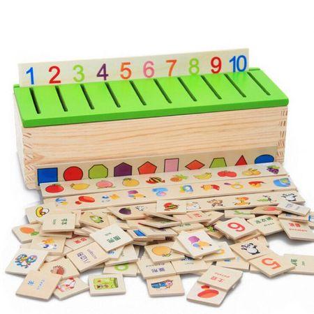Joc interactiv și educativ de tip Montessori de asociere și sortare cu 88 piese, sortator din lemn0