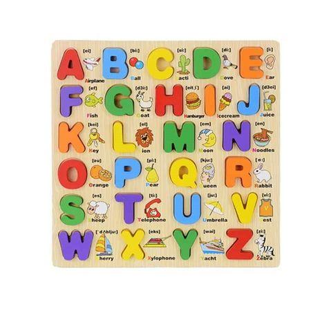 Puzzle lemn 3D Alfabetul cu litere mari și imagini [0]