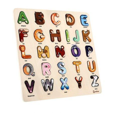 Puzzle lemn cu litere Alfabetul Junglei Onshine, 3 ani+0