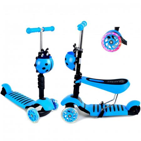 Trotineta evolutiva Scooter 3 in 1 cu lumini LED pentru copii - 4 culori disponibile0
