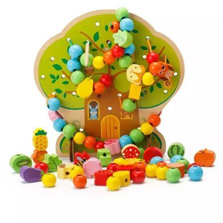 Joc Montessori 2 in 1 Pomul cu fructe, şnuruit şi înșirat0