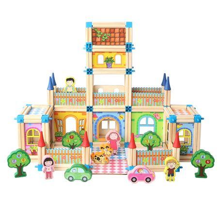 """Set de 128 de piese de construit din lemn natural pentru copii, """"Micul Arhitect"""" [0]"""