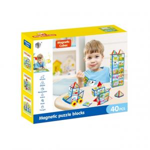 Joc set constructii magnetice si puzzle, Magnetic Cubes, 40 piese0