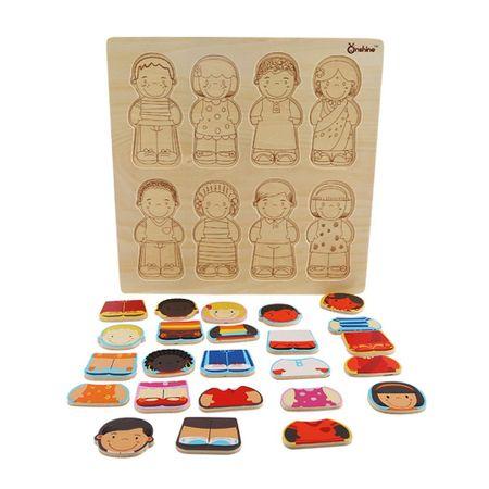 Puzzle lemn educativ Rasele Umane Onshine, 3 ani+ [1]
