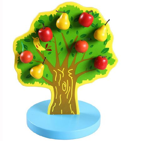 Copac din lemn cu fructe magnetice, 3 ani+1