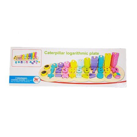 Jucărie din lemn Omida 3 rânduri cu cifre şi forme, Montessori, Multicolor, 76 de piese2