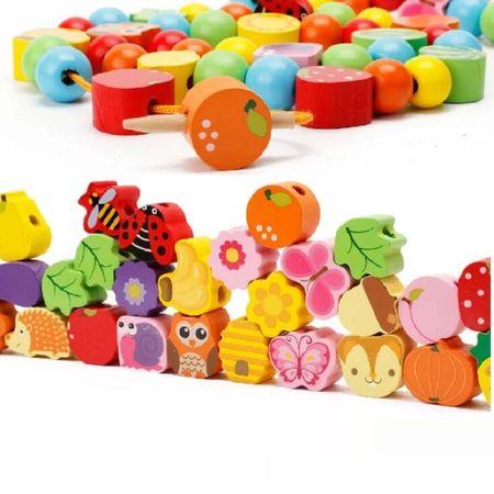 Joc Montessori 2 in 1 Pomul cu fructe, şnuruit şi înșirat2