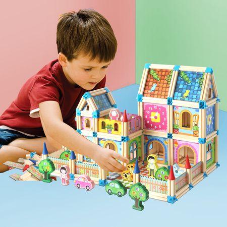 """Set de 128 de piese de construit din lemn natural pentru copii, """"Micul Arhitect"""" [2]"""