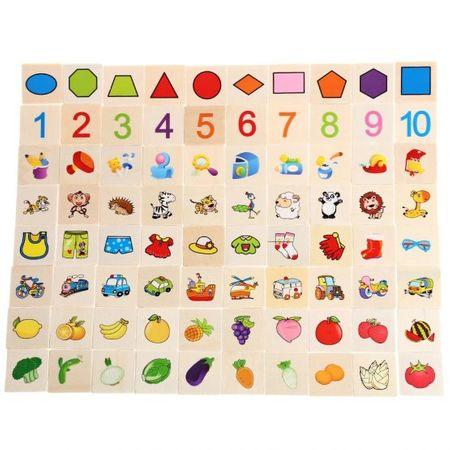 Joc interactiv și educativ de tip Montessori de asociere și sortare cu 88 piese, sortator din lemn3