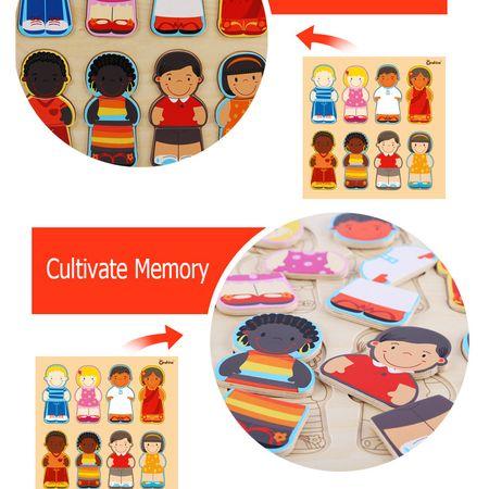 Puzzle lemn educativ Rasele Umane Onshine, 3 ani+3