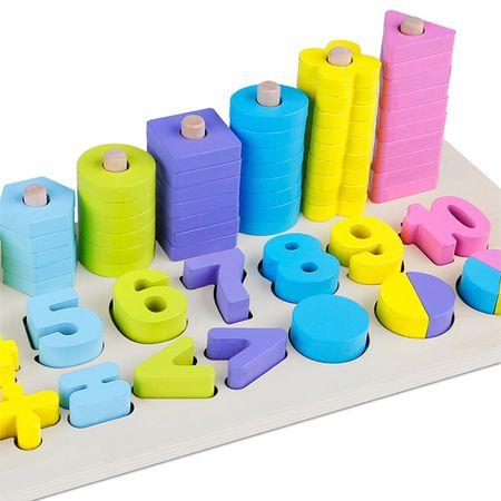 Jucărie din lemn Omida 3 rânduri cu cifre şi forme, Montessori, Multicolor, 76 de piese3