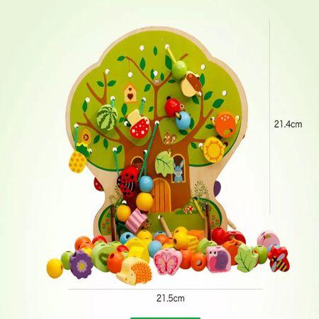 Joc Montessori 2 in 1 Pomul cu fructe, şnuruit şi înșirat3