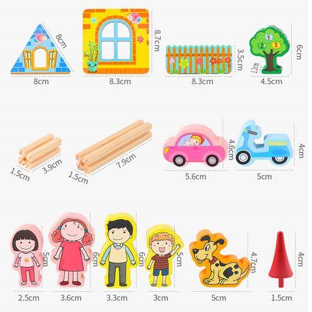 """Set de 128 de piese de construit din lemn natural pentru copii, """"Micul Arhitect"""" [3]"""