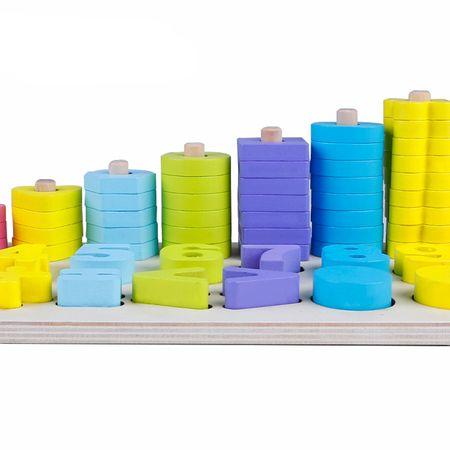 Jucărie din lemn Omida 3 rânduri cu cifre şi forme, Montessori, Multicolor, 76 de piese4