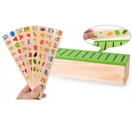 Joc interactiv și educativ de tip Montessori de asociere și sortare cu 88 piese, sortator din lemn5