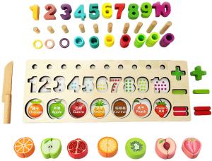 Puzzle educativ lemn sortare-operatii matematice si fructe8
