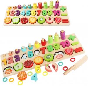 Puzzle educativ lemn sortare-operatii matematice si fructe0