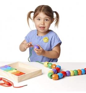 Jucărie de înșiruit din Lemn, Melissa & Doug, 30 piese colorate1