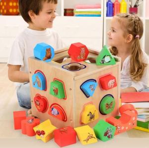 Cub educativ Montessori din lemn 5 în 1 cu activități și sortare forme geometrice0