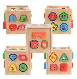 Cub educativ Montessori din lemn 5 în 1 cu activități și sortare forme geometrice3