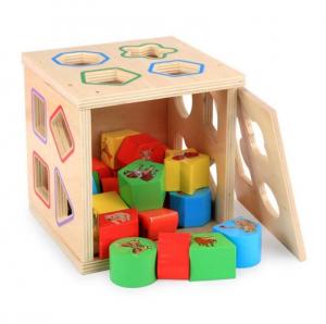 Cub educativ Montessori din lemn 5 în 1 cu activități și sortare forme geometrice2