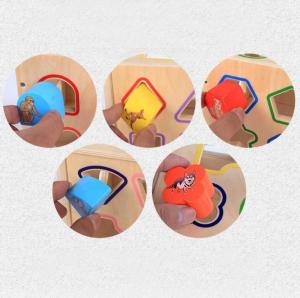 Cub educativ Montessori din lemn 5 în 1 cu activități și sortare forme geometrice5