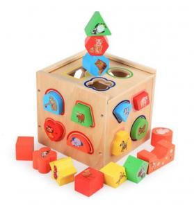Cub educativ Montessori din lemn 5 în 1 cu activități și sortare forme geometrice4
