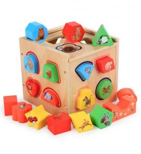 Cub educativ Montessori din lemn 5 în 1 cu activități și sortare forme geometrice1