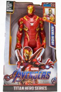 Figurina erou tip Avengers Marvel, Iron Man, culoare rosu, articulatii flexibile, iluminare led, 30 cm0