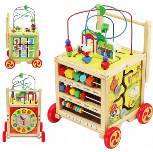 Cub educativ 6 in 1- antepremergator lemn cu activitati [0]