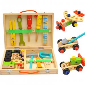 Banc de lucru - set trusa de scule din lemn cu accesorii pentru copii0