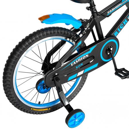 Bicicleta Baieti 7-10 Ani, Roti 20 Inch, Frane C-Brake, Roti Ajutatoare, Rich Baby CST20/02C, Cadru Negru cu Design Albastru [2]