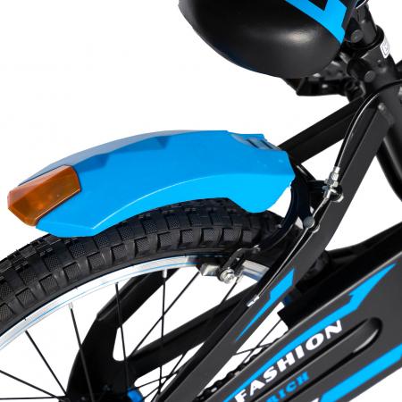 Bicicleta Baieti 7-10 Ani, Roti 20 Inch, Frane C-Brake, Roti Ajutatoare, Rich Baby CST20/02C, Cadru Negru cu Design Albastru [1]