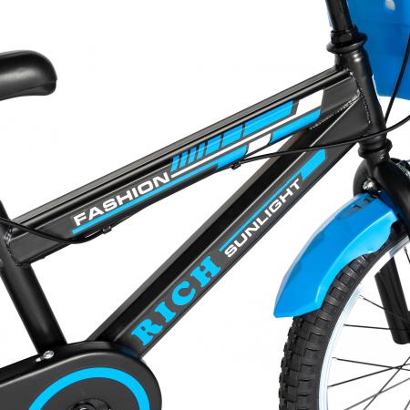 Bicicleta Baieti 7-10 Ani, Roti 20 Inch, Frane C-Brake, Roti Ajutatoare, Rich Baby CST20/02C, Cadru Negru cu Design Albastru [4]