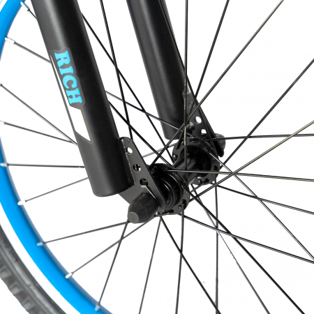 Bicicleta Baieti 7-10 Ani, Roti 20 Inch, Frane C-Brake, Roti Ajutatoare, Rich Baby CST20/02C, Cadru Negru cu Design Albastru [5]