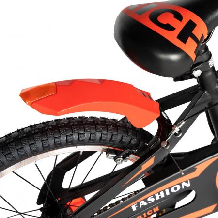 Bicicleta Baieti 7-10 Ani, Roti 20 Inch, Frane C-Brake, Roti Ajutatoare, Rich Baby CST20/02C, Cadru Negru cu Design Portocaliu [2]