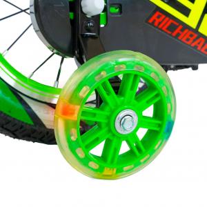 "Bicicleta baieti Rich Baby R1407A, roata 14"", C-Brake, roti ajutatoare cu LED, 3-5 ani, verde/alb 3"