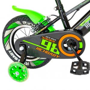 """Bicicleta baieti Rich Baby R1407A, roata 14"""", C-Brake, roti ajutatoare cu LED, 3-5 ani, negru/verde7"""